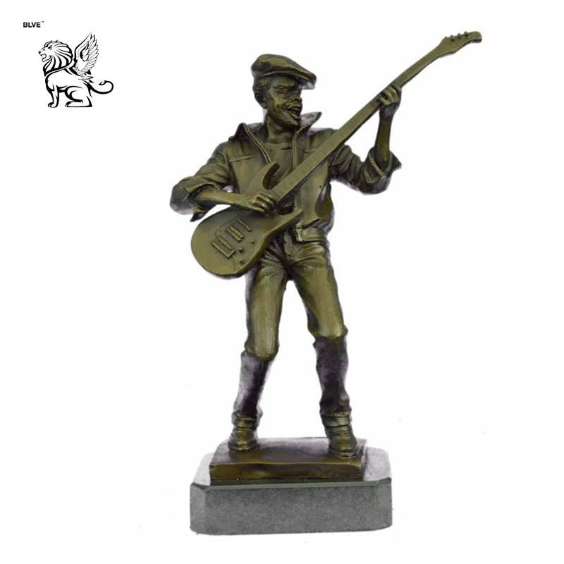 art deco life size standing black american music musician play guitar jazz bronze statue sculpture for sale BSG-269