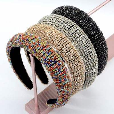 2020 Wholesale Europe And America Fashion Woven Rhinestone Headbands Padded Rhinestone Headband