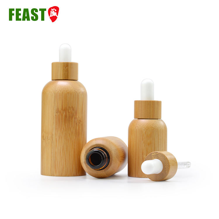 30ML 50ML Natural Bamboo Empty Glass Dropper Bottle Custom Emulsion Perfume Essential Oil Glass Bottle with screw bamboo lid