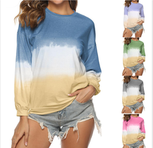 Wholesale Women's Leisure Round Collar Long Sleeves Tie Dye T-shirt