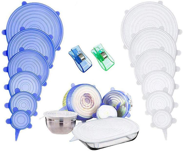 6 Pack estiramiento de silicona cubre para Tazas Cuencos sartenes y ollas Contenedores claro