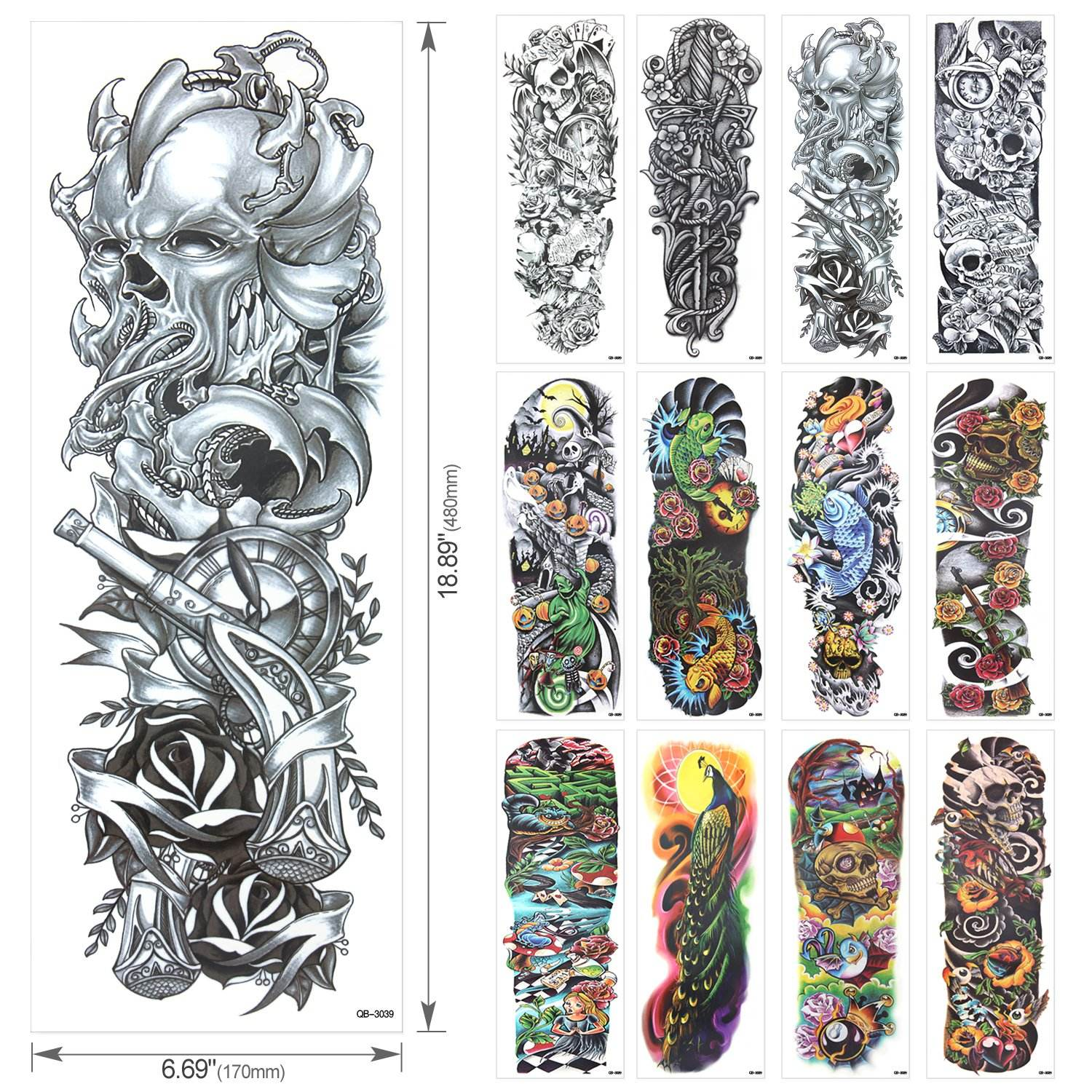 Full Arm Temporary Tattoo, Temporary Tattoo Black tattoo Body Stickers for Man Women