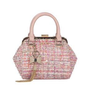 Tweed handbags for women with chaint Luxury bag crossbody metal frame handbags made in china