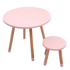 Factory Supply Wooden Kids Table and Chair Set Kindergarten Toddler Round Desk
