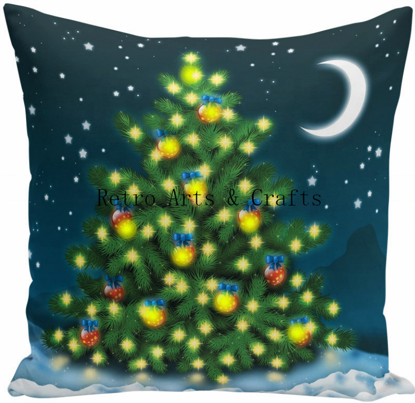 RT20026 LED Cushion Cover Christmas Decorations for Home Santa Claus Christmas Tree