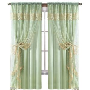 window Cheap embroidery Designs organza Tulle living room curtain with valance