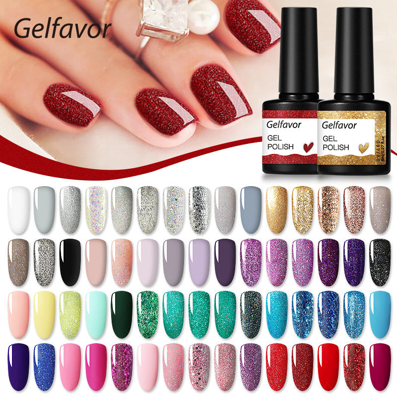 Gelfavor nail supplies private label wholesale 8ml 60 colors uv led gel nail polish soak off gel polish for nail art design