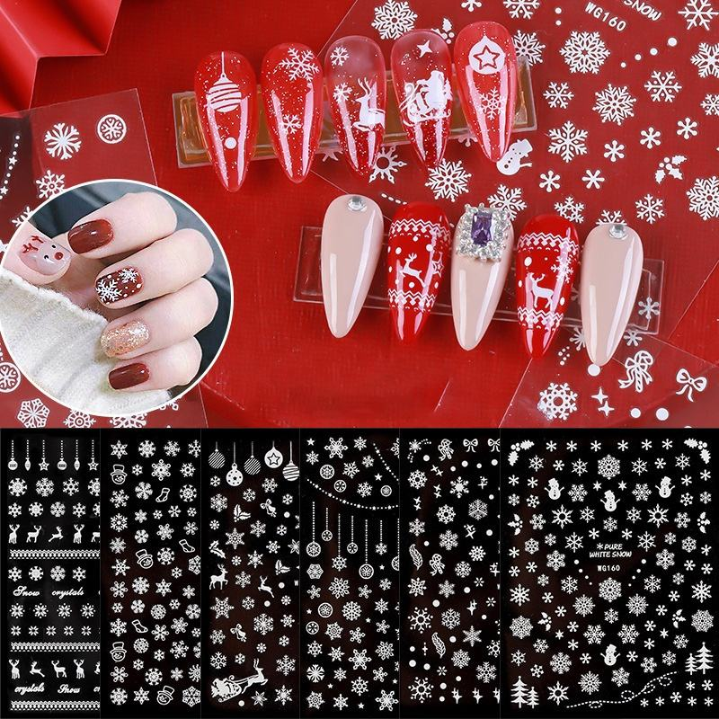 Misscheering 3D Nail Art Christmas Slider Wraps Snowflake Elk Santa Adhesive Flame Sticker Red Gold Manicure Nails Designs