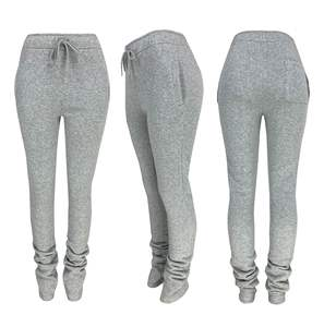 Thick Stacked Sweat Joggers Pants Flare Cargo Track Pants Stacked Fleece Leggings Sweatpants Plus Size Women Winter Fall Clothes