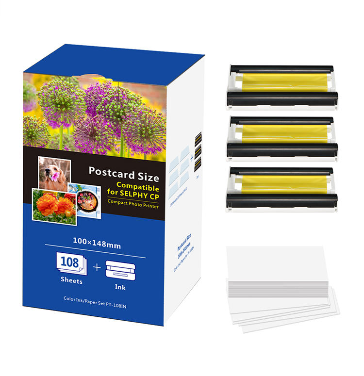 Jepod Compatible selphy cp1300 photo printer paper 108 Sheets paper for canon printer cp1300 cp1200 cp1000