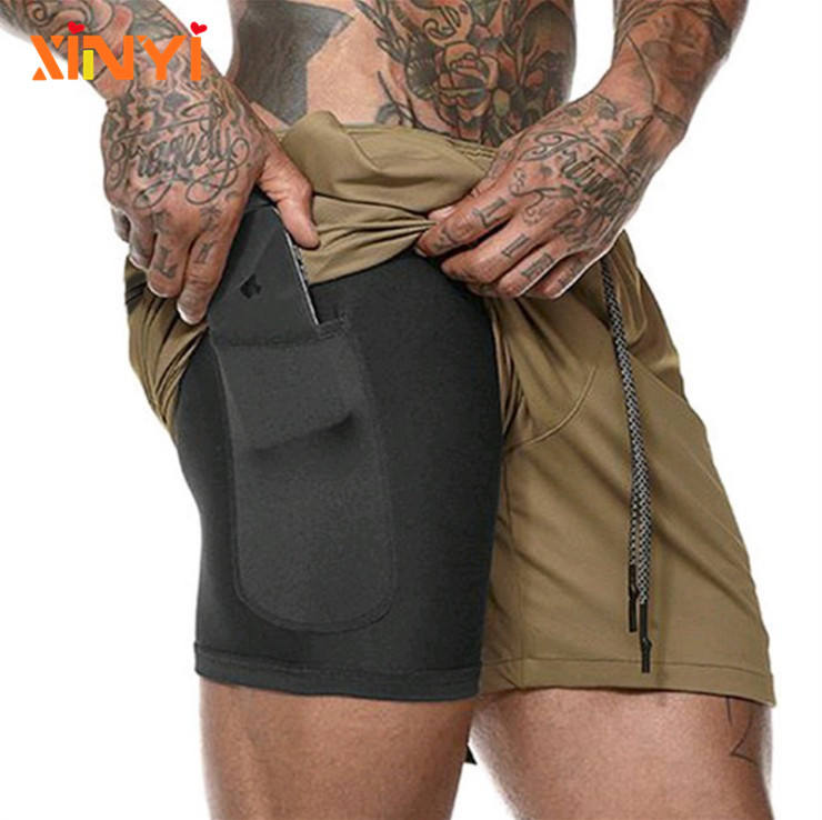 Individuelles Logo Mode Homme Comfy Jogging hosen Sport Shorts Solide männer Workout Fitness Gym Lauf 2 in 1 Shorts