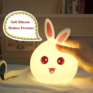 New style Rabbit Lamp For Children Baby Kids Bedside Multicolor Silicone Touch Sensor Tap Control LED Night Light