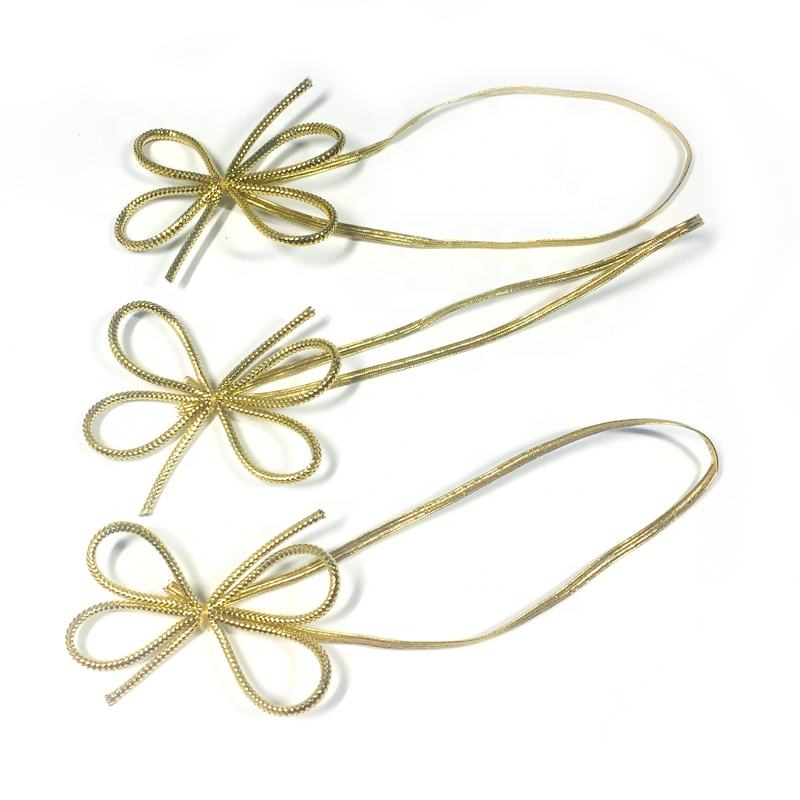 Customized 2mm Gold Metallic Pre-tie Elastic Cord Bow Flat Stretch With 2 Loops For Gift Packaging