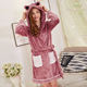 Newest Flannel Fleece Robe 100% Polyester Plush Bathrobe With Hat Women Printed Sleepwear Woman Pajamas