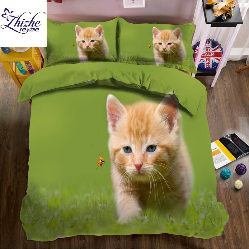 3D style animal printed cat dog print duvet cover set