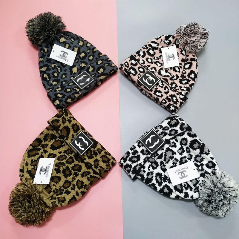 Hot Sale Winter Hat High Quality Adjustable Leopard CC Hat for Men and Women Fashionable Bonnet with Cute Ball