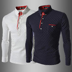 Spring Autumn Plus Size Men Polka Dot Button Down Long Sleev