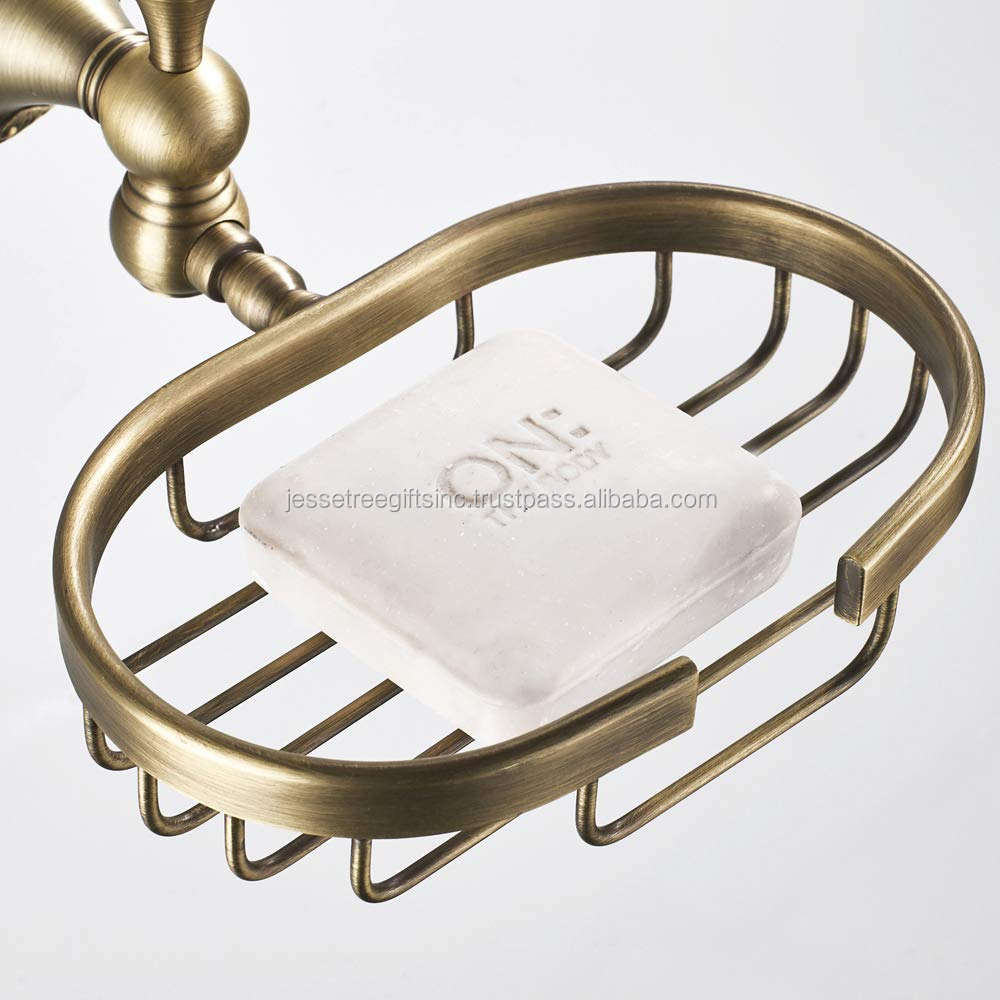 Round Base Soap Basket Holder Antique Brass Finishing - Wall Mounted Soap Dish Wire Basket For Bathroom - Retro Home Decor