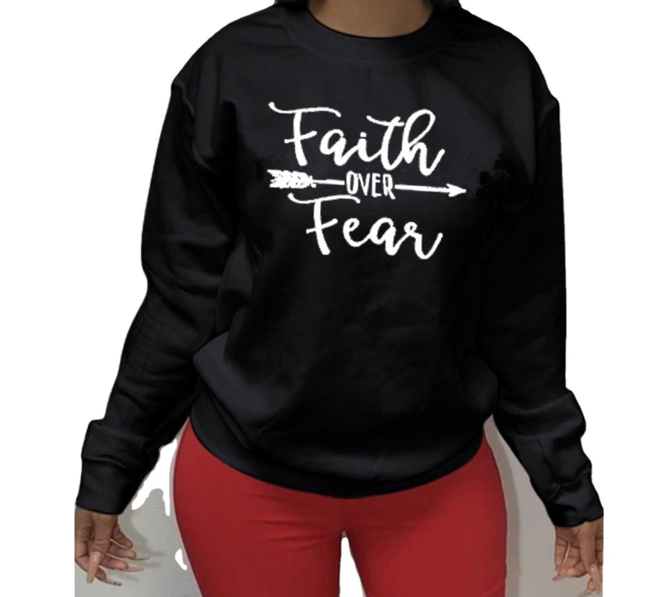 New Hot Sale Fashion Plus Size Sweater Shirt Faith Over Feaq Printed O-neck Pullover Long Sleeve Sweater Casual Loose Women