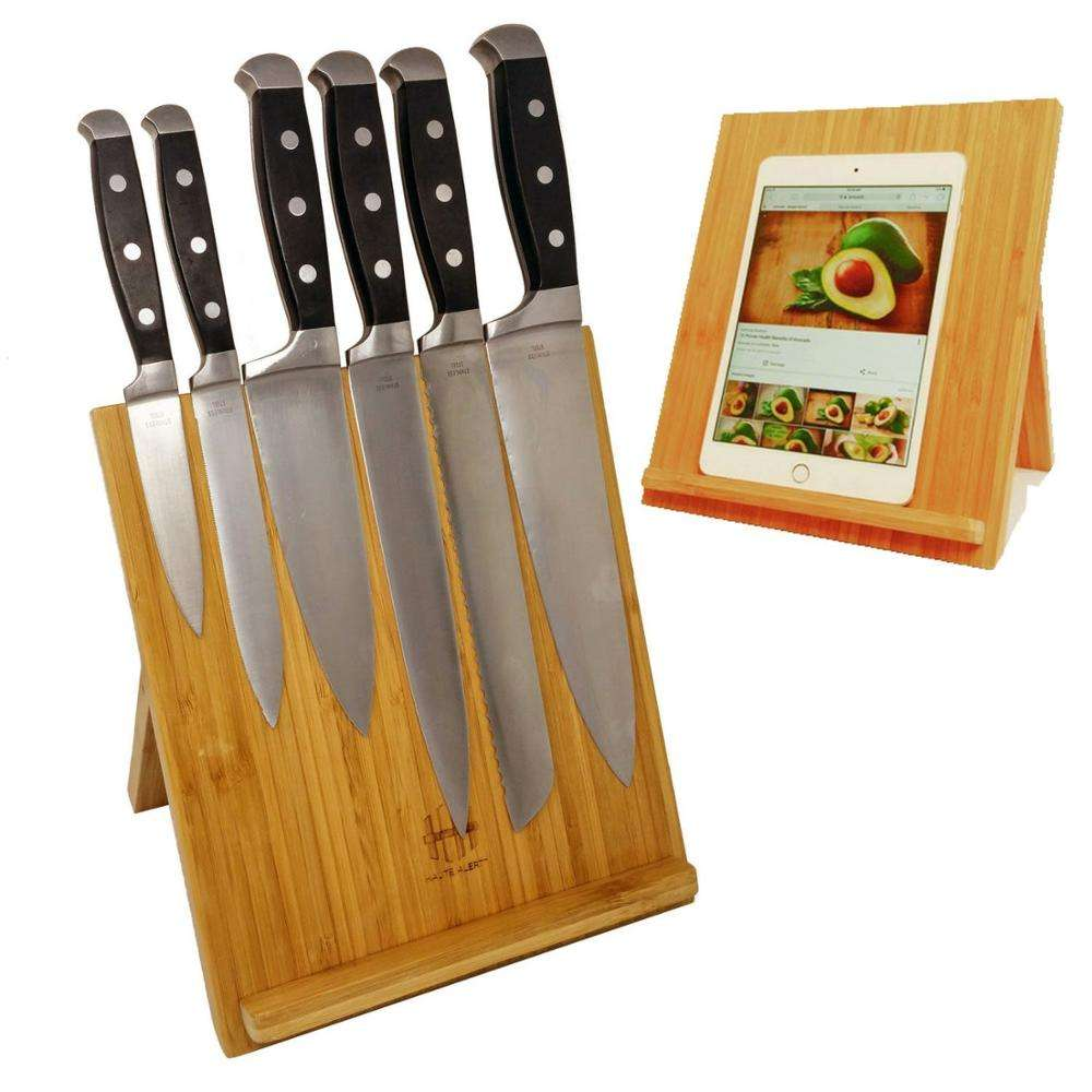 Multifunctional 100% Natural Kitchen Bamboo Magnetic Knife Block with Fold Flat