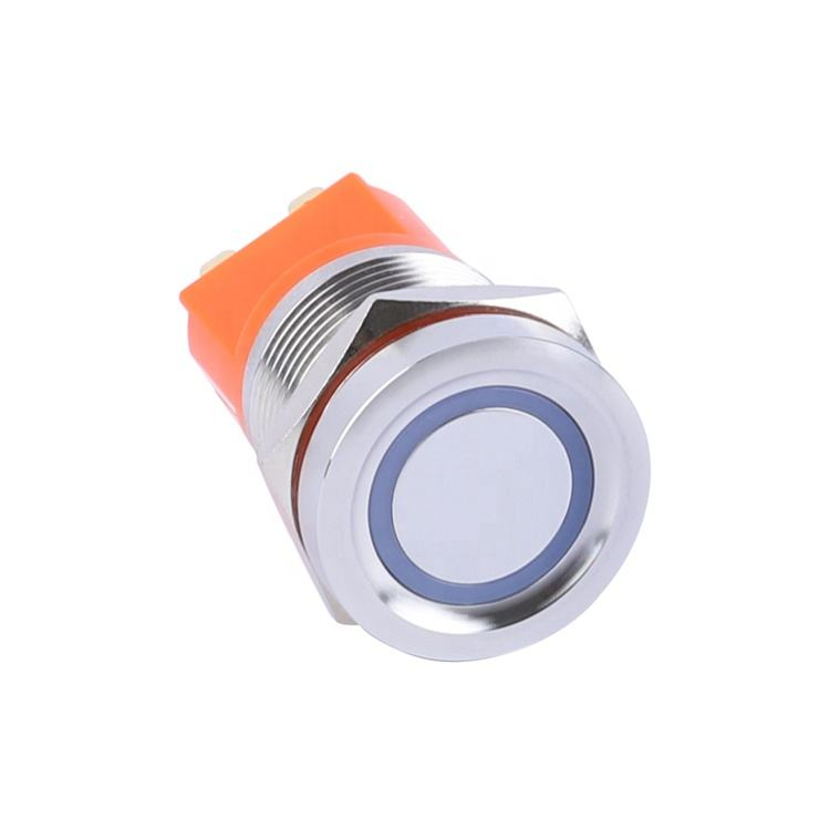 22mm Flat Head Led Light Waterproof Stainless Steel Push On Off Lock Spring Touch Button Switch