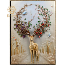 Polyresin Craft Home Decoration 3d deer Decorative Relief Wall Painting Wall Art and Craft