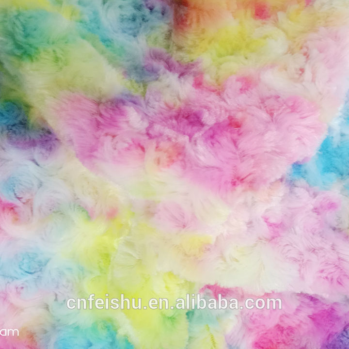 Tie dye short pile plush fabric Super soft fabric with colorful flower rabbit fur fabric