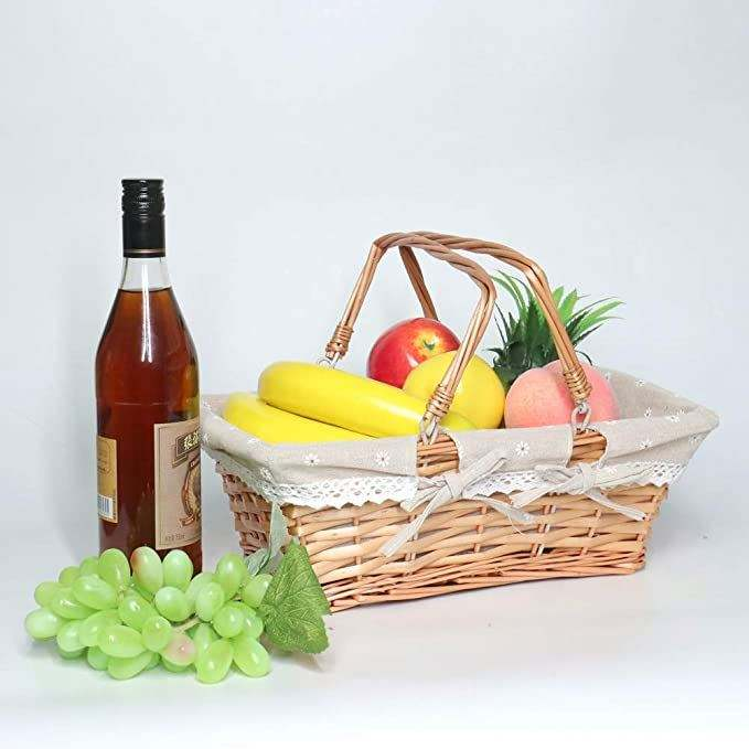Houseware Rattan Design Multi-purpose Plastic Storage Basket with lid Picnic baskets