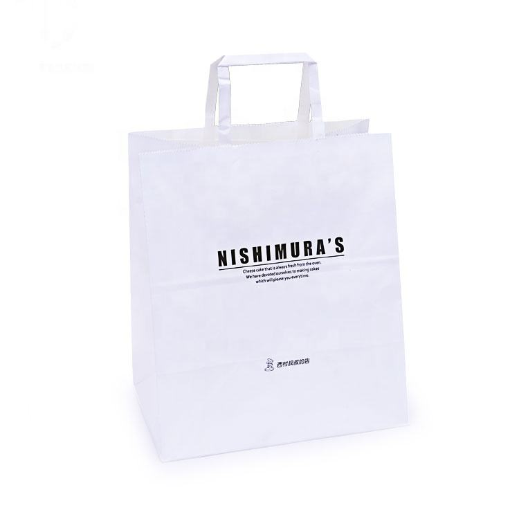 Cheap Price Custom Printed Grocery Take Away Food Flat Handle White Kraft Paper Carrier Bag