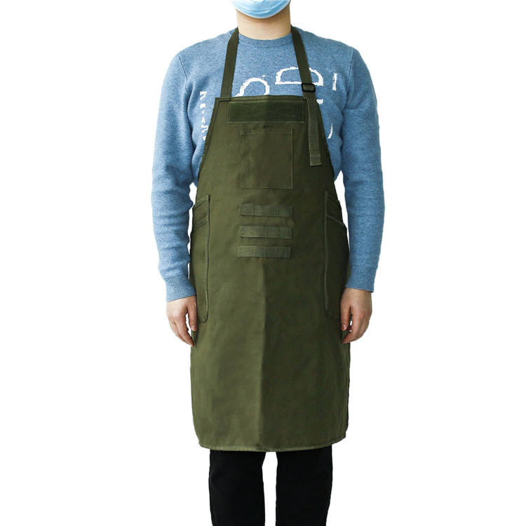 Unisex Adjustable Plastic Waist Buckle Shoulder Strap Durable Canvas Work Apron with Large Pockets on Both Sides
