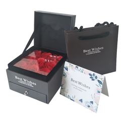 Wholesale Artificial Rose Flower Drawer Box gift sets for Valentines Day