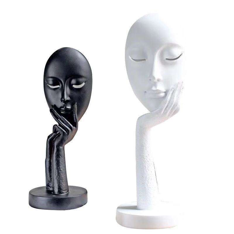 modern abstract mask hand on chin thinker crafts resin face sculpture