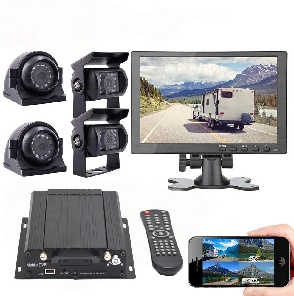 vehicle mobile dvr 4 camera 7inch monitor cables mdvr kit gps 3g 4g wifi remote view app pc software cmsv6 mobile car dvr 3g