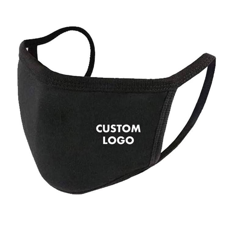 Reusable Fashion Custom Printed Logo Cloth Cotton Black Washable Dust Face Mouth Masking Mask