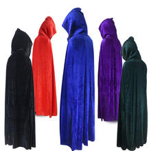 Halloween unisex medieval velvet cloak adult cosplay vampire death hooded cloak