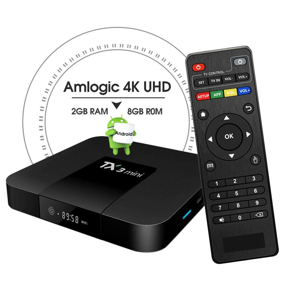 New Product TF Card reader S905W octa core latest smart satellite internet 4k 2gb 16gb tx3 mini box tv