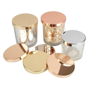 Metal Tins candle lid Custom Gold Candle Cover Sliver Empty Incense Jars Lids Glass Candle Jar With Lid
