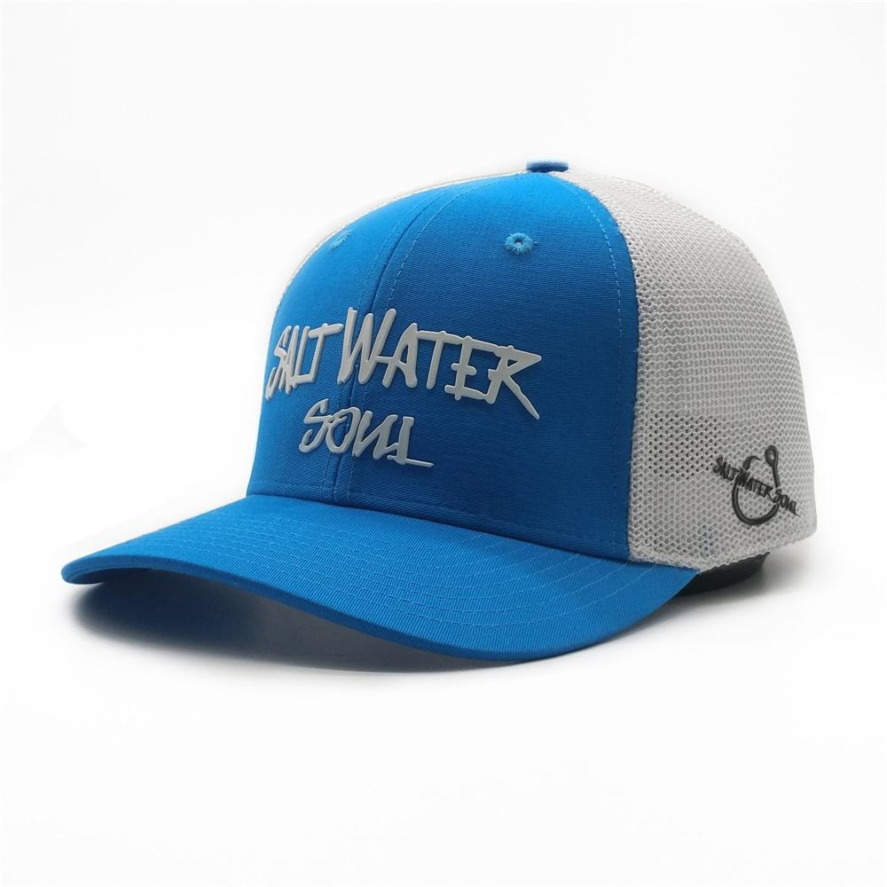 Cheap Price Custom Unisex Blue 6 Panel White Back Mesh Fish Hook Rubber Printing Flex Fit Trucker Caps Hats