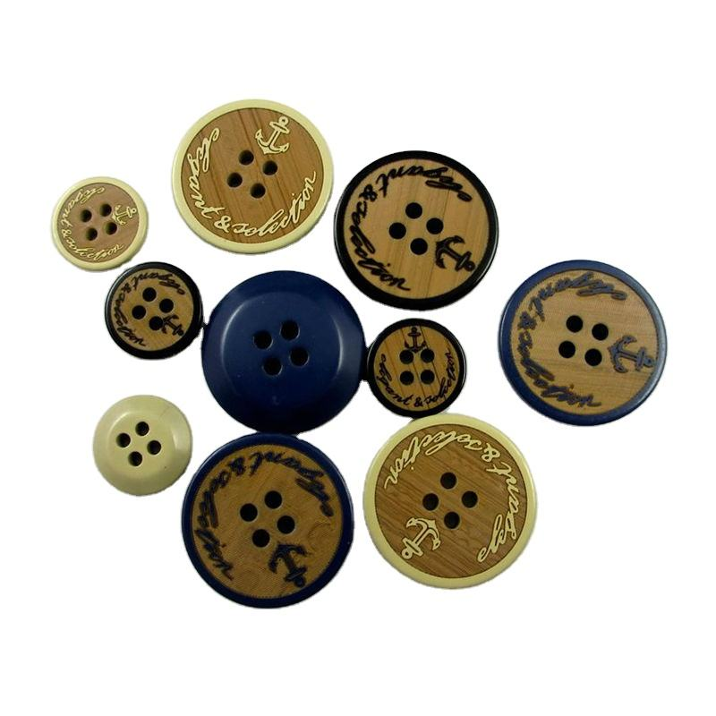 High quality wooden effect resin buttons for coat