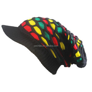 Rasta Oversized Knit Slouch Striped Beanie Cap
