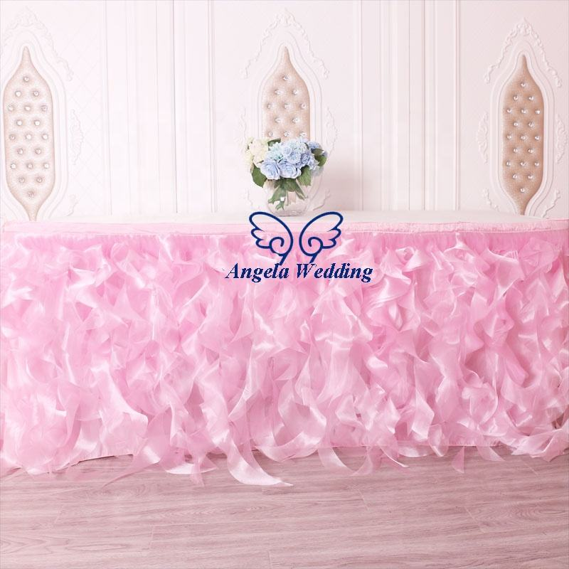 SK010N real sample picture custom made ready to ship wedding decoration 17ft pink organza curly willow bridal table skirt