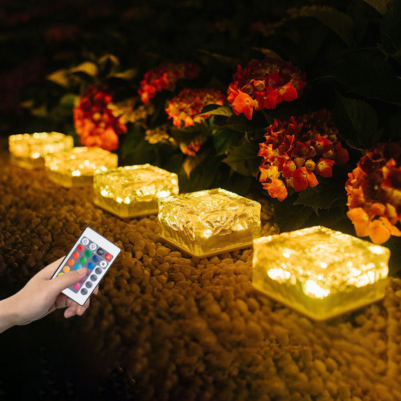 Crystal Brick Waterproof Lighting Security Patio Garden Lamp Decoration Buried Ice LED Cubes Solar Powered Yard Path Light