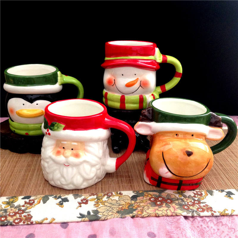 Personalized 3D Ceramic Christmas Animal Mug Set Cartoon Cup Coffee Cup