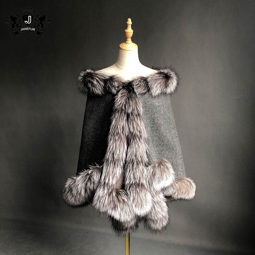 2019 High Quality Real Cashmere Cape Scarves Shawl Women With Fox Fur Trim