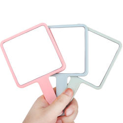 Gift square mirror beauty makeup handheld makeup mirror customized logo beauty salon handle mirror