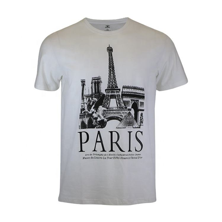 garments manufacturers custom mens fashion t shirt paris printing big size designer acid washed white gray cotton shirts