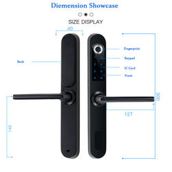 Window Glass Aluminum Frame Smart Door Lock Fingerprint Lock