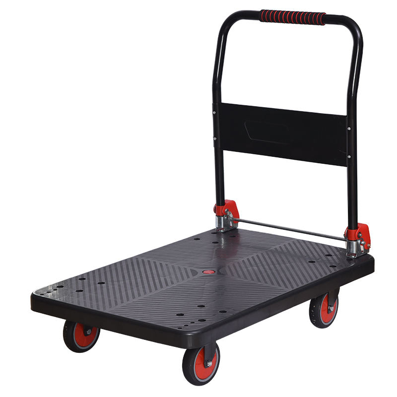 Flat hand psuh trolley folded hand cart for warehouse goods moving Warehouse high quality tool hand push flat cart transport