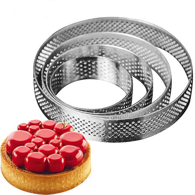 Round Perforated Stainless Steel Tart Ring/Kitchen Baking Tools Mousse Cake Ring 50/60/70/80/90/100/110/120*20mm