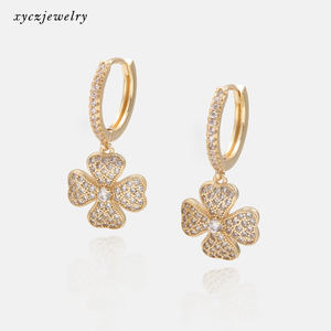 Classic white cz lucky clover drop earrings party gold plated earrings